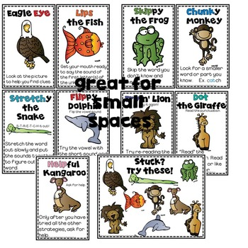 Reading Strategy Posters 5.5 x 8 !  Small spaces!