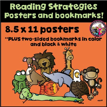 Reading Strategy Posters 8.5 x 11 Plus two-sided bookmark!