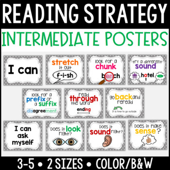 Reading Strategy Posters {Intermediate}