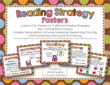 Reading Strategy Posters - Multi-Colored Polka Dots on Cho