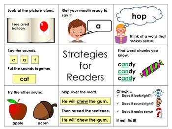 Reading Strategy Posters, Table Charts, and Bookmarks