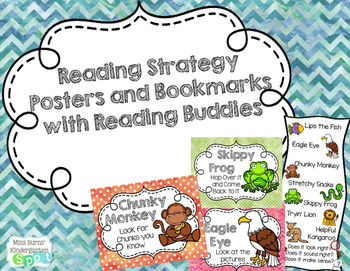 Reading Strategy Watercolor Posters and Student Bookmarks with Reading Buddies