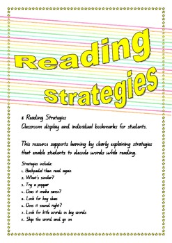 Reading Strategy Posters and bookmarks - classroom display