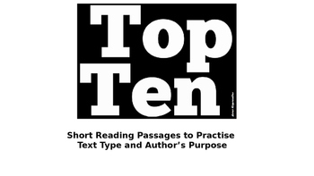 Reading Strategy Practice Author's Purpose and Text Types