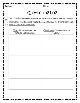 Reading Strategy Questioning - Student Notebook Questioning Log