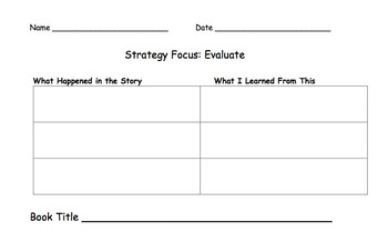 Reading Strategy Reading Logs