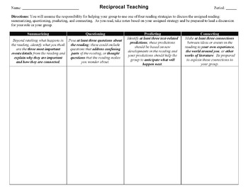 Reading Strategy: Reciprocal Learning