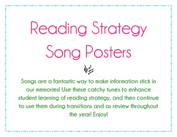 Reading Strategy Song Posters