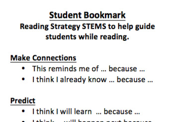 Reading Strategy Student Bookmark