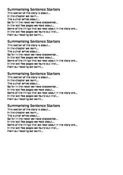 Reading Strategy, Summarising Sentence Starters