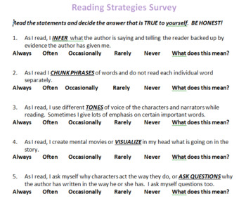 Reading Strategy Survey Formative Assessment