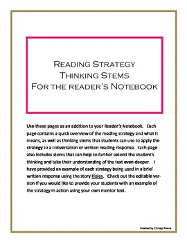 Reading Strategy Thinking Stems for the Reader's Notebook