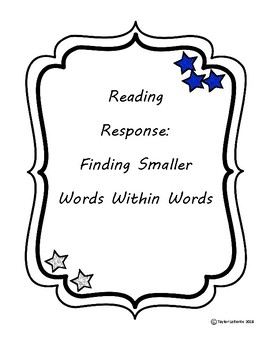 Reading Strategy Worksheet: Words Within Words