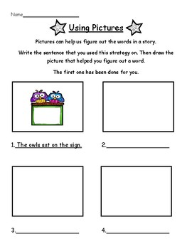 Reading Strategy Worksheet: Using Pictures
