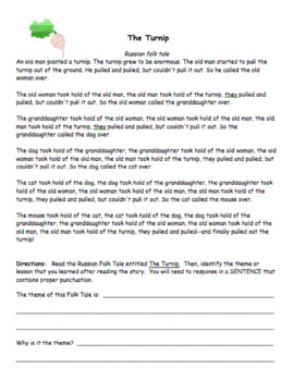 Theme - Reading Strategy Worksheet