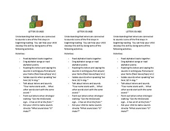Reading Strategy bookmarks for parents