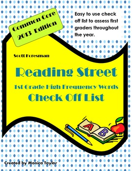 Reading Street 1st Grade 2013 Common Core High Frequency Words Check Off List