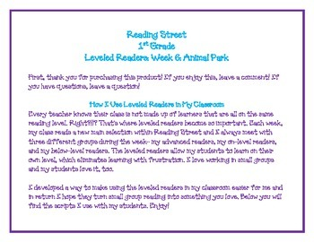 Reading Street 1st Grade Leveled Readers Unit 1: Animal Park