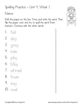 Reading Street, 1st Grade Spelling Materials, Unit 4
