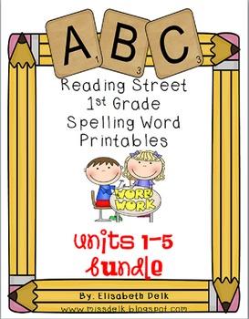 Reading Street 1st Grade Spelling Word Work Printables Bundle: Units 1-5