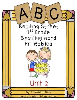 Reading Street 1st Grade Spelling Word Work Printables: Unit 2