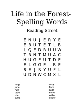 Reading Street 1st Grade Spelling Words- Word Search- Life in the Forest