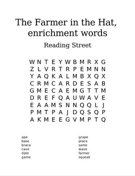 Reading Street 1st Grade Spelling Words- Word Search- The Farmer in the Hat