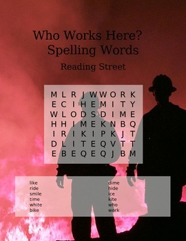 Reading Street 1st Grade Spelling Words- Word Search- Who Works Here