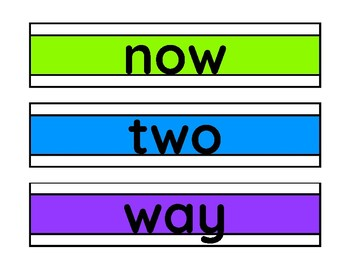 Reading Street 1st grade High Frequency Word Rainbow Brights
