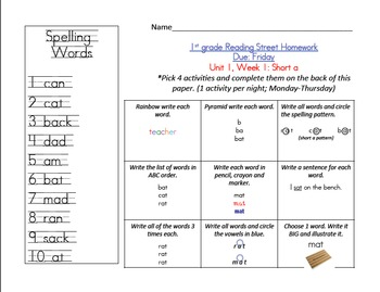 Reading Street 1st grade Spelling Homework ALL UNITS!