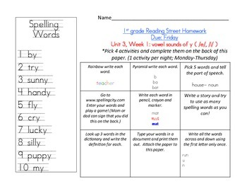Reading Street 1st grade Spelling Homework UNIT 3