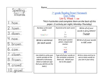 Reading Street 1st grade Spelling Homework UNIT 5