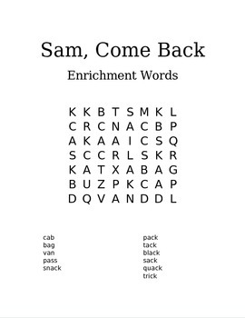 Reading Street- 1st grade word search- Sam, Come Back