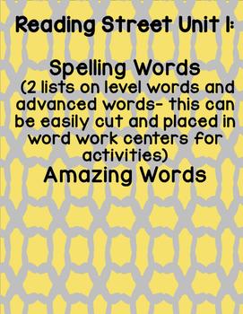 Reading Street 2008 First Grade Unit 1 Spelling Words