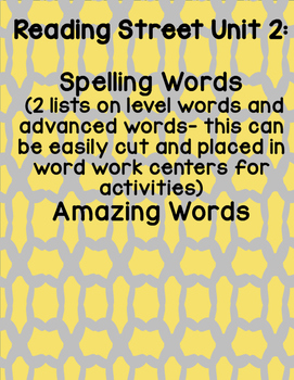Reading Street 2008 First Grade Unit 2 Spelling Words