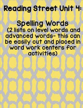 Reading Street 2008 First Grade Unit 4 Spelling Words