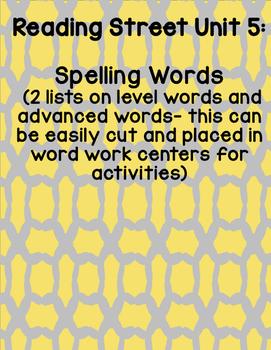 Reading Street 2008 First Grade Unit 5 Spelling Words
