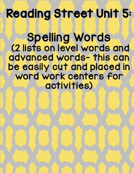Reading Street 2008 First Grade Unit 5 Spelling Words