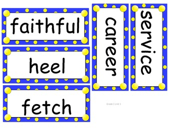 Grade 1 Amazing Words word cards Units 1-5 for Reading Street (2008)