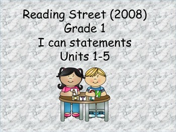 Reading Street 2008 Grade 1 (Un 1-5) I can statements & cc