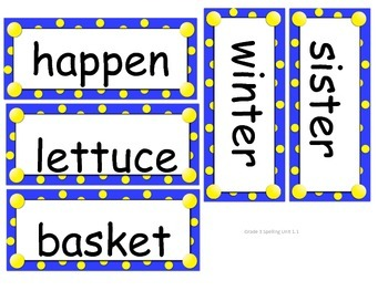 Grade 3 Units 1-6 Spelling word cards for Reading Street (2008)