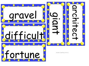 Grade 4 Unit 6 Spelling word cards for Reading Street (2008)