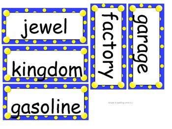 Grade 5 Unit 3 Spelling word cards for Reading Street (2008)