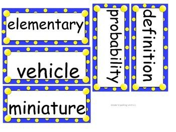 Grade 5 Unit 5 Spelling word cards for Reading Street (2008)