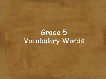 Grade 5 Units 1-6 Vocabulary word cards for Reading Street (2008)