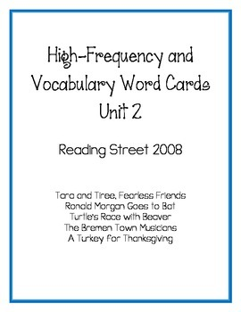 Reading Street 2008 High-Frequency and Vocabulary Word Cards - Unit 2