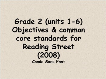 Reading Street 2008 grade 2 objectives & standards (units