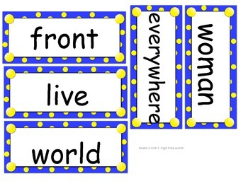 CC Grade 2 High Frequency/Vocab word cards for Reading Street 2013