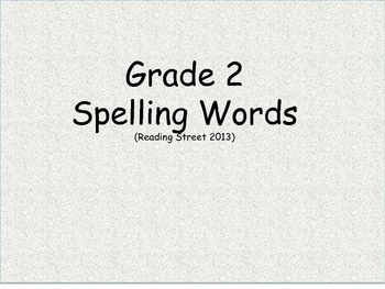 CC Grade 2 Spelling Word Cards Units 1-6 for Reading Street 2013