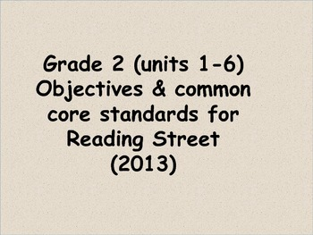 Reading Street 2013 CC standards and objectives Grade 2 Units 1-6